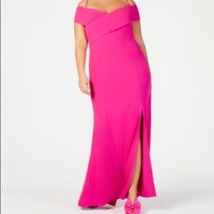 Hot Pink off the shoulder dress from Macy's 14W